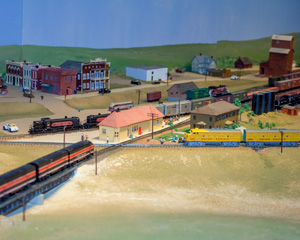 A Rock Island train approaches the Limon depot from the southwest while an UP train gets ready to depart to the northwest in this N-scale model layout of Limon in the 1940's.