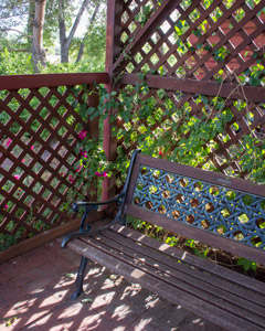 lattice arbor with wooden bench