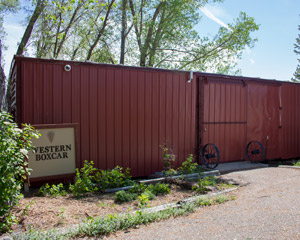 red Western boxcar exterior